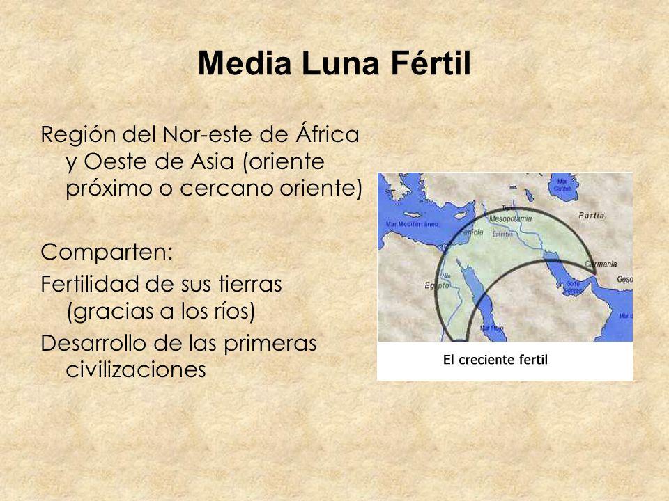 Media Luna Fértil Región del Nor-este de África y Oeste de Asia (oriente próximo o cercano oriente) Comparten: Fertilidad de sus tierras (gracias a lo