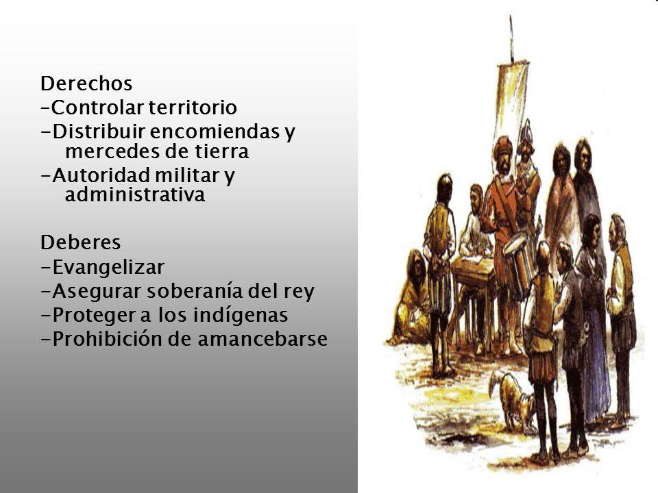 Derechos –Controlar territorio -Distribuir encomiendas y mercedes de tierra -Autoridad militar y administrativa Deberes -Evangelizar -Asegurar soberan