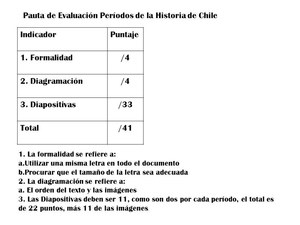 Pauta de Evaluación Períodos de la Historia de Chile IndicadorPuntaje 1. Formalidad/4 2. Diagramación/4 3. Diapositivas/33 Total/41 1. La formalidad s