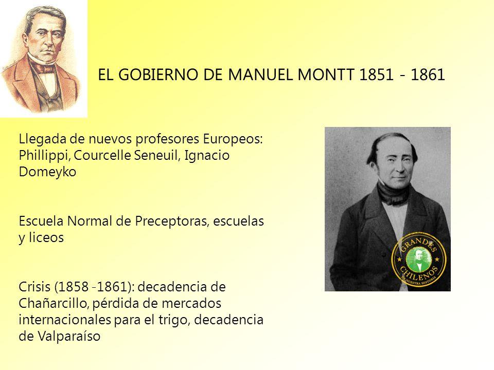 EL GOBIERNO DE MANUEL MONTT 1851 - 1861 Llegada de nuevos profesores Europeos: Phillippi, Courcelle Seneuil, Ignacio Domeyko Escuela Normal de Precept