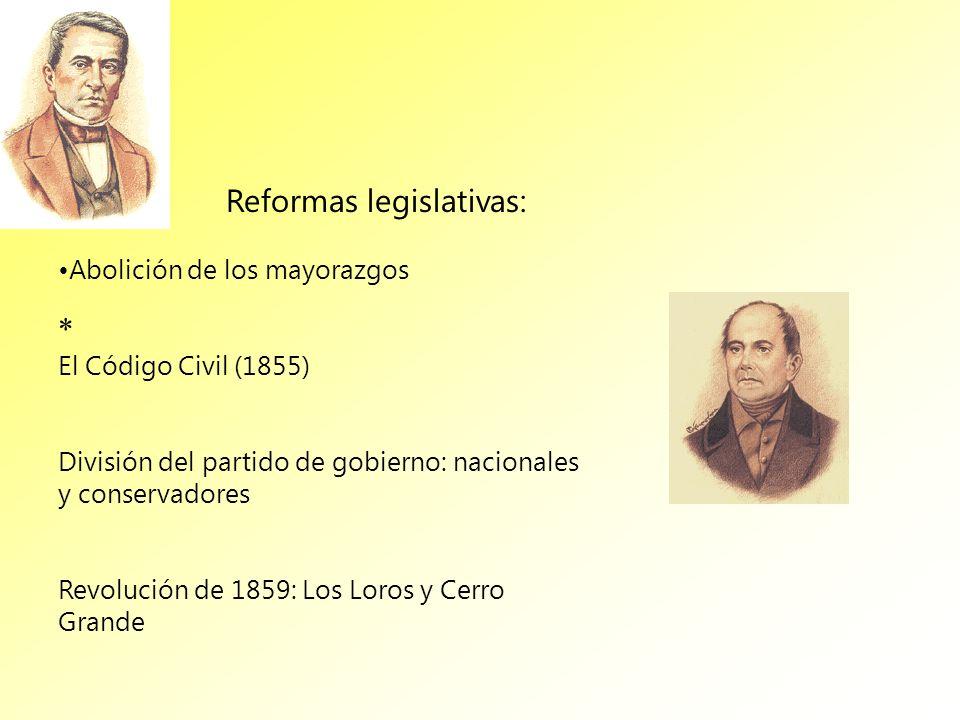 Abolición de los mayorazgos El Código Civil (1855) División del partido de gobierno: nacionales y conservadores Revolución de 1859: Los Loros y Cerro