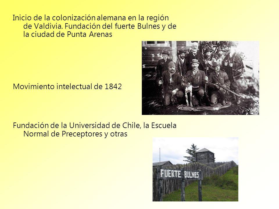 Inicio de la colonización alemana en la región de Valdivia. Fundación del fuerte Bulnes y de la ciudad de Punta Arenas Movimiento intelectual de 1842