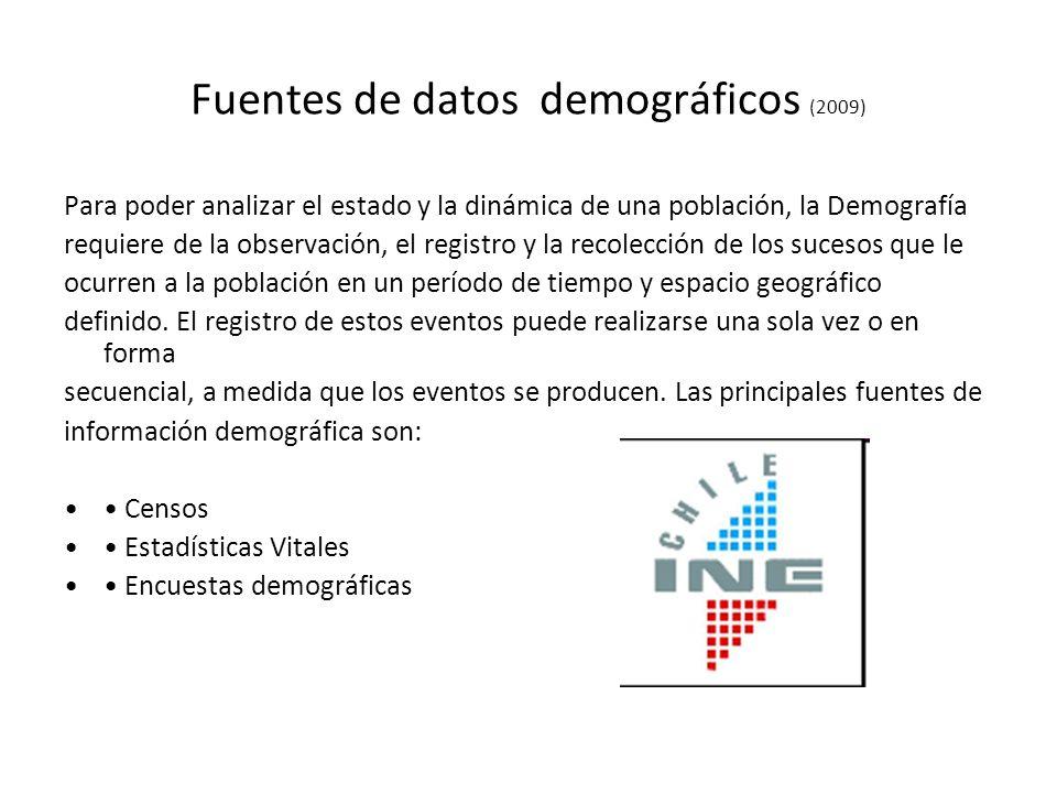Fuentes de datos demográficos (2009) Para poder analizar el estado y la dinámica de una población, la Demografía requiere de la observación, el regist