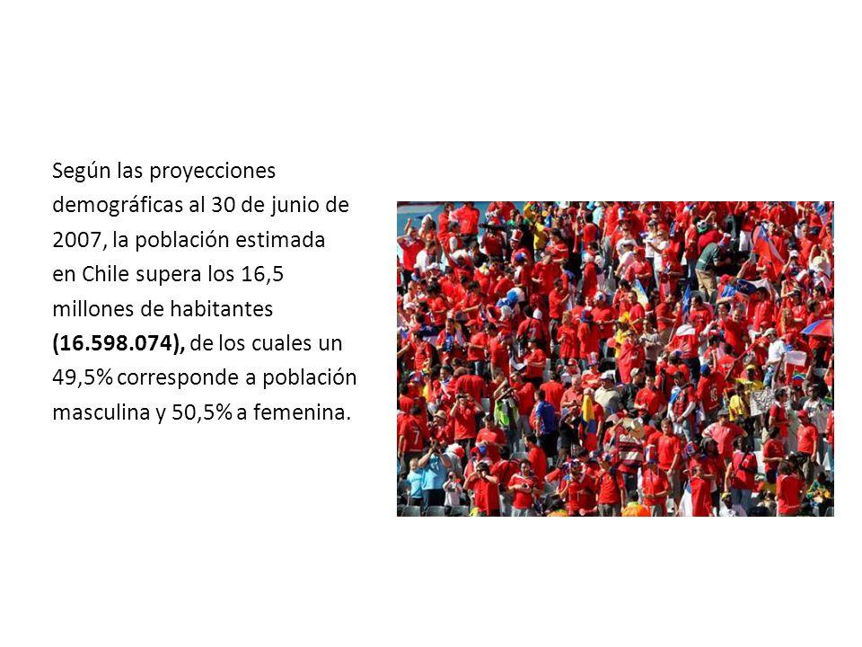Según las proyecciones demográficas al 30 de junio de 2007, la población estimada en Chile supera los 16,5 millones de habitantes (16.598.074), de los