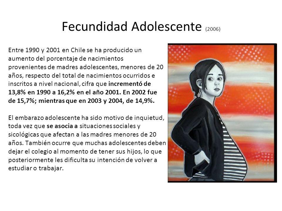 Fecundidad Adolescente (2006) Entre 1990 y 2001 en Chile se ha producido un aumento del porcentaje de nacimientos provenientes de madres adolescentes,