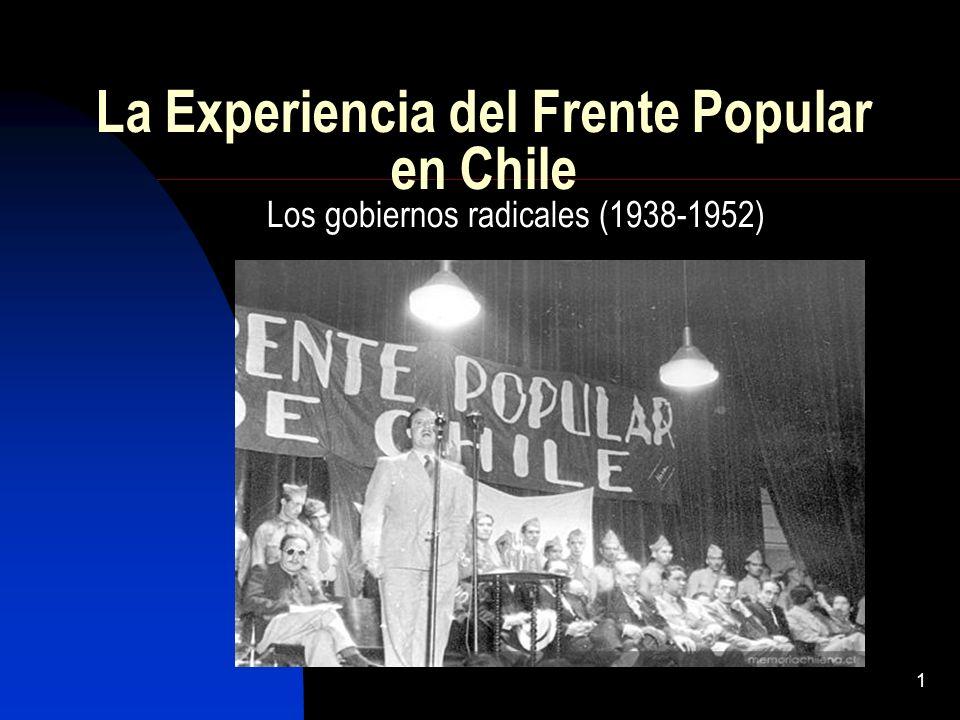 1 La Experiencia del Frente Popular en Chile Los gobiernos radicales (1938-1952)