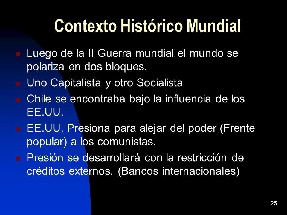 Contexto Histórico Mundial Luego de la II Guerra mundial el mundo se polariza en dos bloques. Uno Capitalista y otro Socialista Chile se encontraba ba