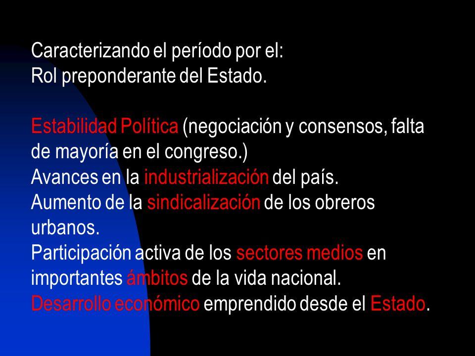Caracterizando el período por el: Rol preponderante del Estado. Estabilidad Política (negociación y consensos, falta de mayoría en el congreso.) Avanc