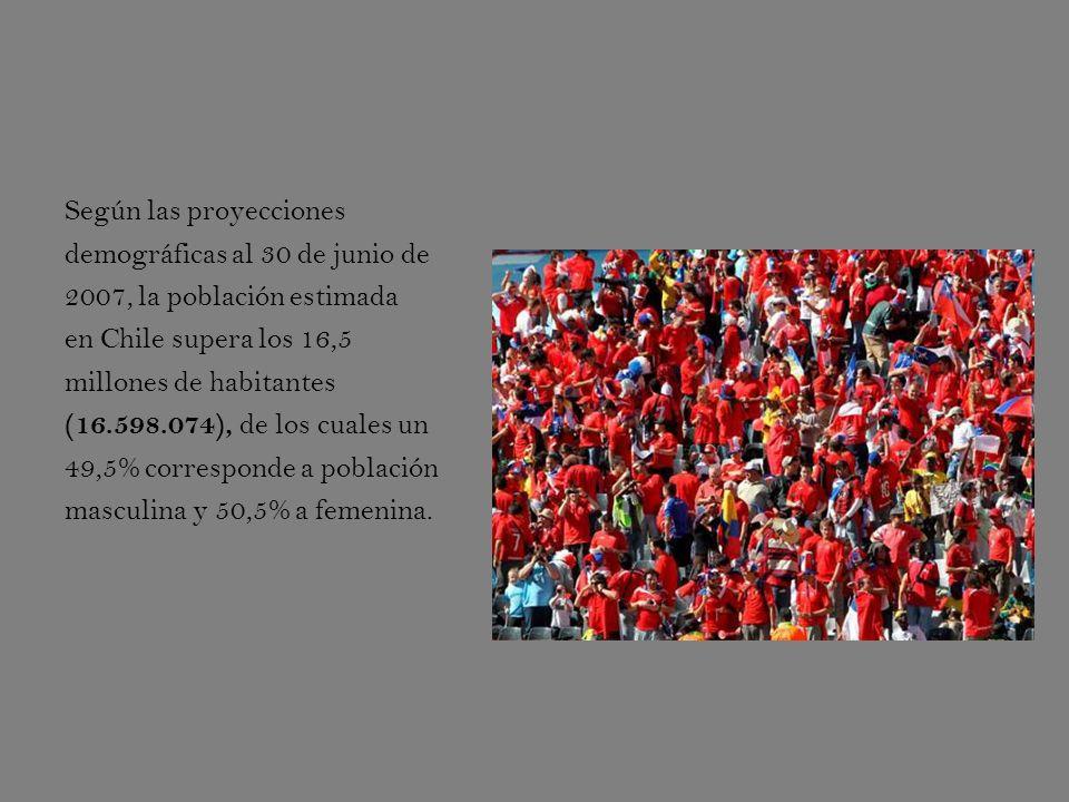 Según las proyecciones demográficas al 30 de junio de 2007, la población estimada en Chile supera los 16,5 millones de habitantes (16.598.074), de los cuales un 49,5% corresponde a población masculina y 50,5% a femenina.