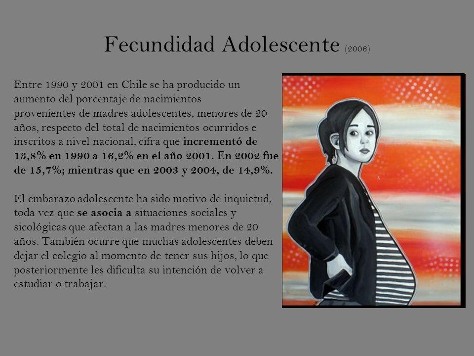 Fecundidad Adolescente (2006) Entre 1990 y 2001 en Chile se ha producido un aumento del porcentaje de nacimientos provenientes de madres adolescentes, menores de 20 años, respecto del total de nacimientos ocurridos e inscritos a nivel nacional, cifra que incrementó de 13,8% en 1990 a 16,2% en el año 2001.