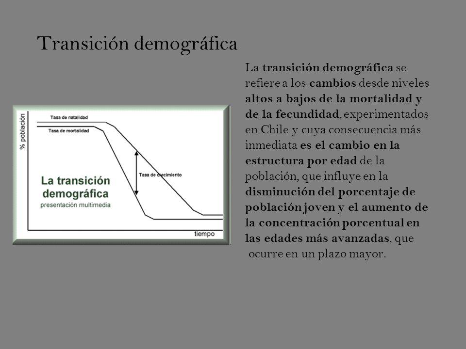 Transición demográfica La transición demográfica se refiere a los cambios desde niveles altos a bajos de la mortalidad y de la fecundidad, experimentados en Chile y cuya consecuencia más inmediata es el cambio en la estructura por edad de la población, que influye en la disminución del porcentaje de población joven y el aumento de la concentración porcentual en las edades más avanzadas, que ocurre en un plazo mayor.