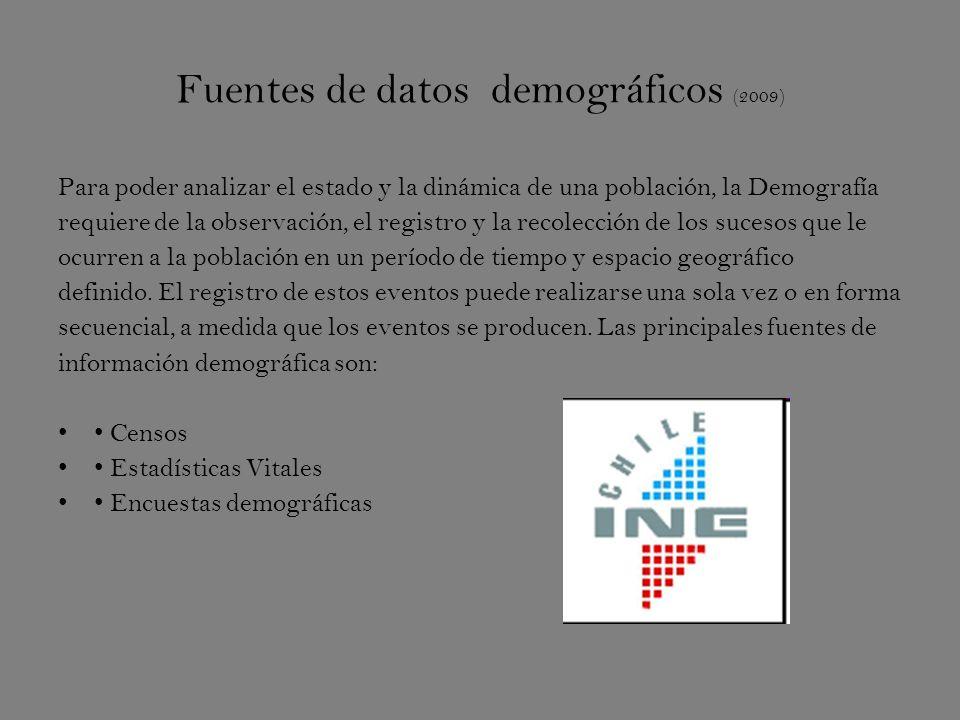Fuentes de datos demográficos (2009) Para poder analizar el estado y la dinámica de una población, la Demografía requiere de la observación, el registro y la recolección de los sucesos que le ocurren a la población en un período de tiempo y espacio geográfico definido.