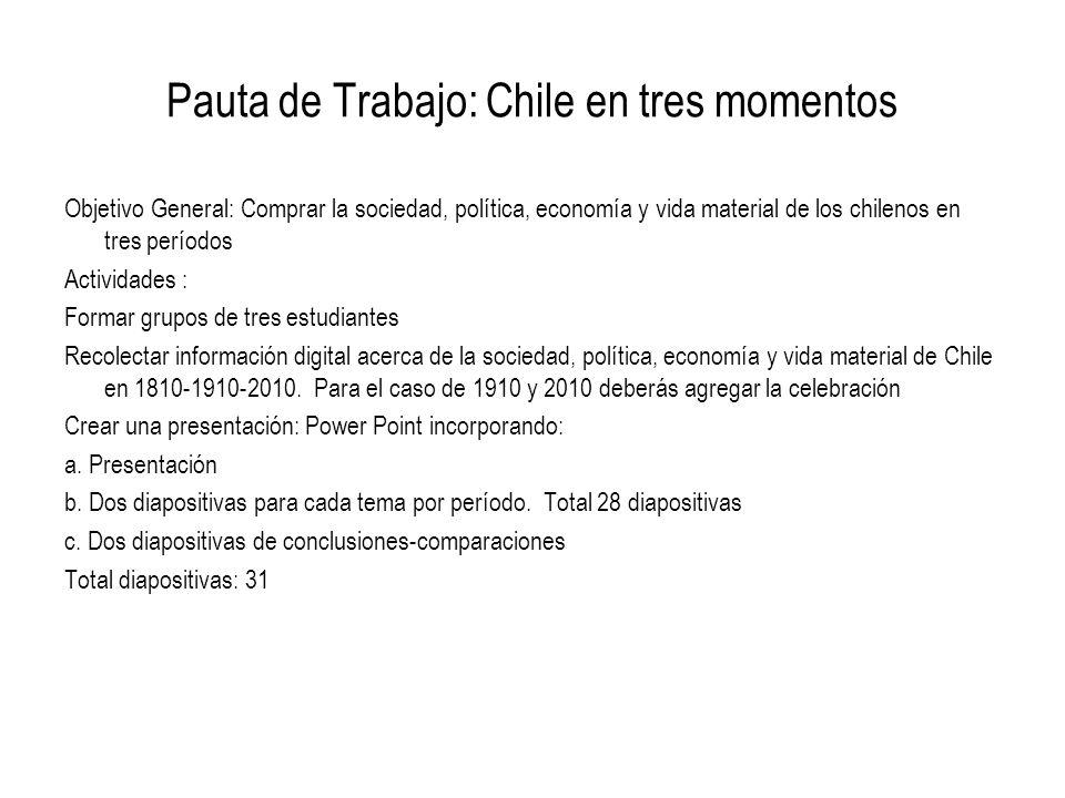 Pauta de Trabajo: Chile en tres momentos Objetivo General: Comprar la sociedad, política, economía y vida material de los chilenos en tres períodos Ac