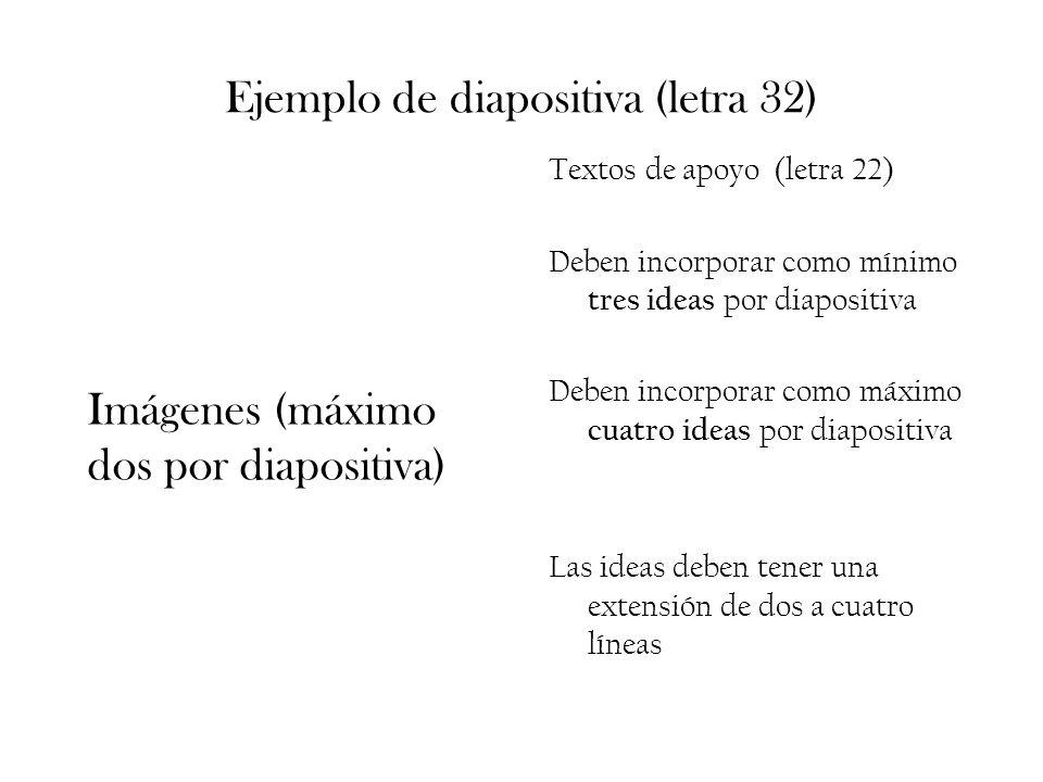 Ejemplo de diapositiva (letra 32) Textos de apoyo (letra 22) Deben incorporar como mínimo tres ideas por diapositiva Deben incorporar como máximo cuat