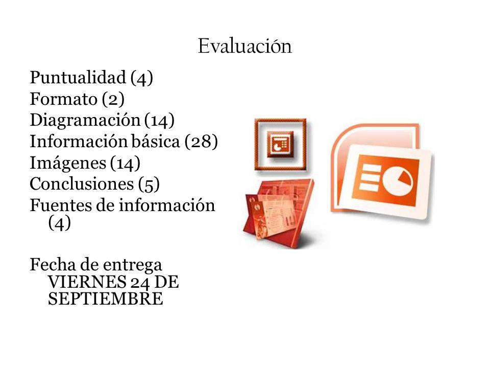 Evaluación Puntualidad (4) Formato (2) Diagramación (14) Información básica (28) Imágenes (14) Conclusiones (5) Fuentes de información (4) Fecha de en