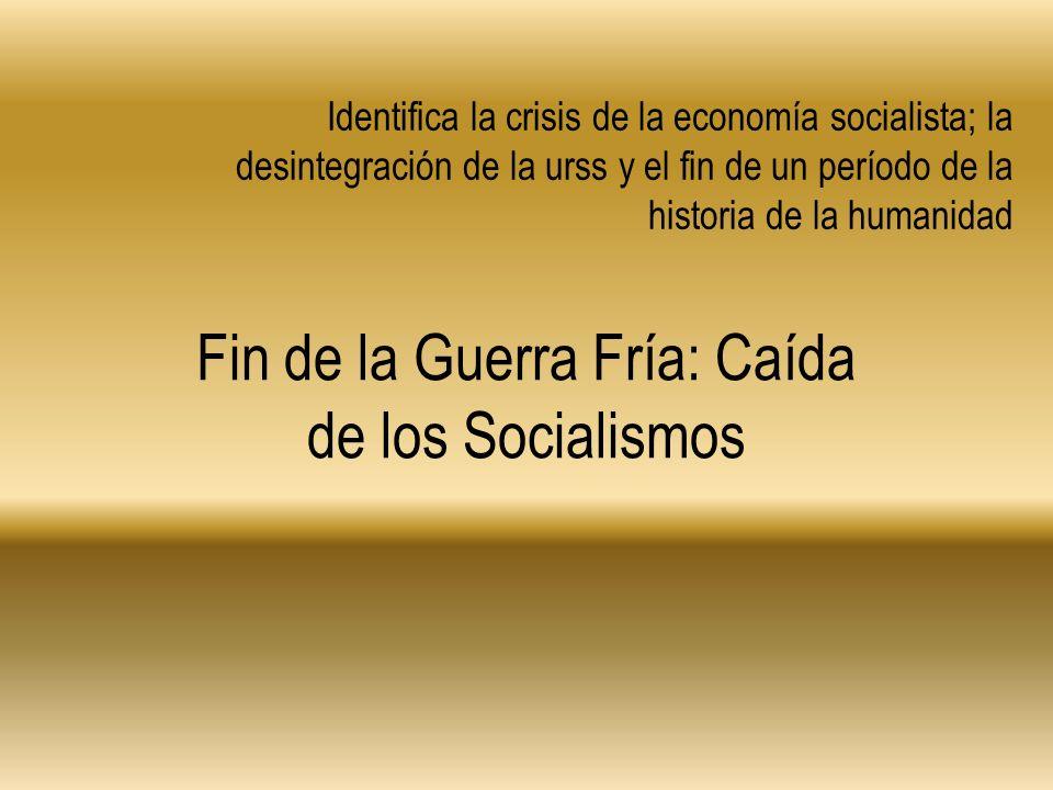 Identifica la crisis de la economía socialista; la desintegración de la urss y el fin de un período de la historia de la humanidad Fin de la Guerra Fr