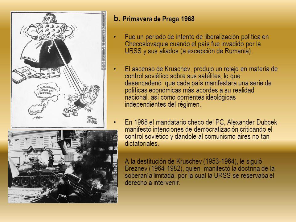 b. Primavera de Praga 1968 Fue un periodo de intento de liberalización política en Checoslovaquia cuando el país fue invadido por la URSS y sus aliado