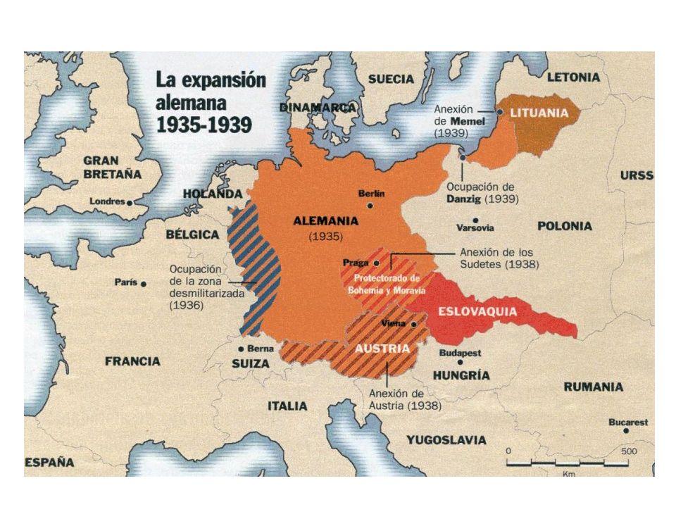 Alemania e Italia, los dos regímenes totalitarios, fortalecieron su alianza. En octubre de 1936, firmaron un acuerdo, el llamado Eje Roma-Berlín 1938,