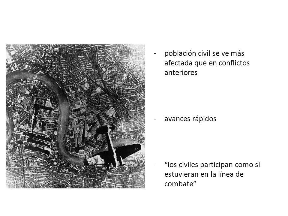 Dimensiones del conflicto 1º Guerra Mundial: conflicto defensivo -trincheras -minas -ametralladoras 2º Guerra Mundial: conflicto ofensivo armas ofensi