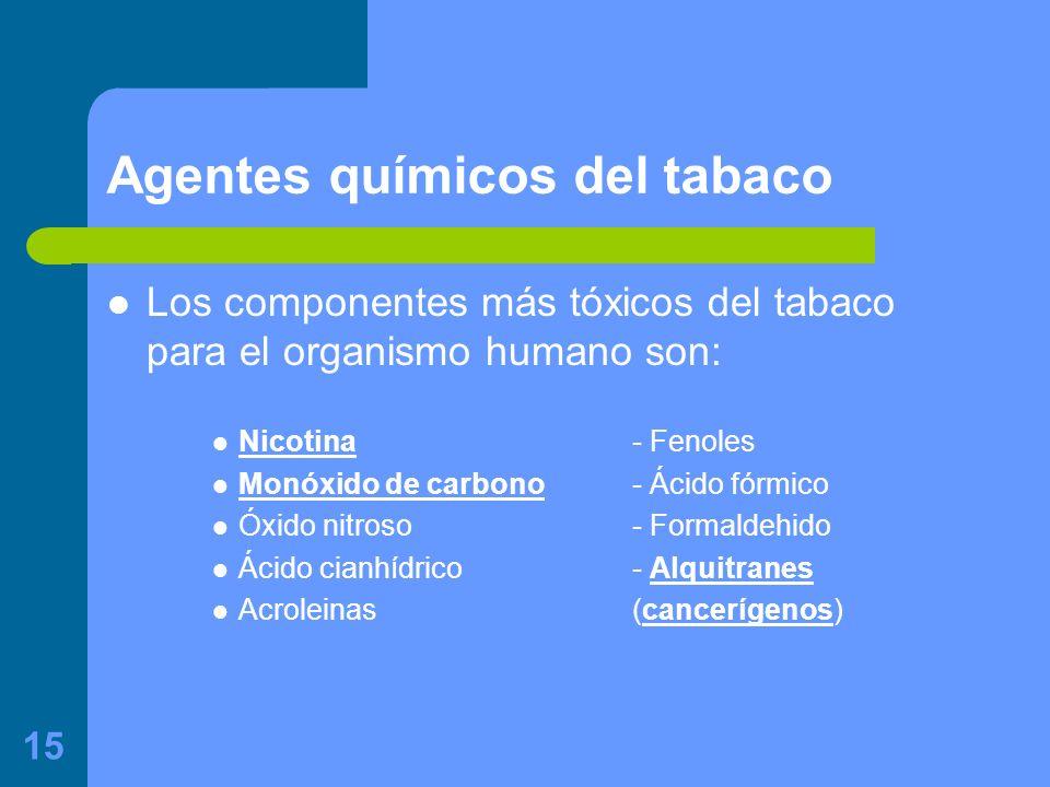 15 Agentes químicos del tabaco Los componentes más tóxicos del tabaco para el organismo humano son: Nicotina- Fenoles Monóxido de carbono- Ácido fórmico Óxido nitroso - Formaldehido Ácido cianhídrico- Alquitranes Acroleinas(cancerígenos)