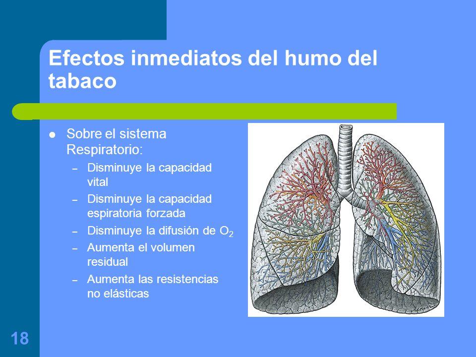 18 Efectos inmediatos del humo del tabaco Sobre el sistema Respiratorio: – Disminuye la capacidad vital – Disminuye la capacidad espiratoria forzada – Disminuye la difusión de O 2 – Aumenta el volumen residual – Aumenta las resistencias no elásticas