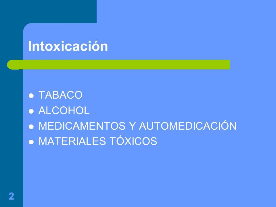 2 Intoxicación TABACO ALCOHOL MEDICAMENTOS Y AUTOMEDICACIÓN MATERIALES TÓXICOS