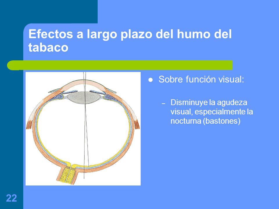 22 Efectos a largo plazo del humo del tabaco Sobre función visual: – Disminuye la agudeza visual, especialmente la nocturna (bastones)