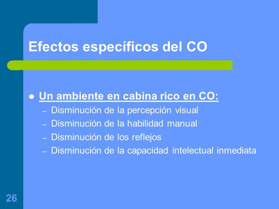 26 Efectos específicos del CO Un ambiente en cabina rico en CO: – Disminución de la percepción visual – Disminución de la habilidad manual – Disminución de los reflejos – Disminución de la capacidad intelectual inmediata