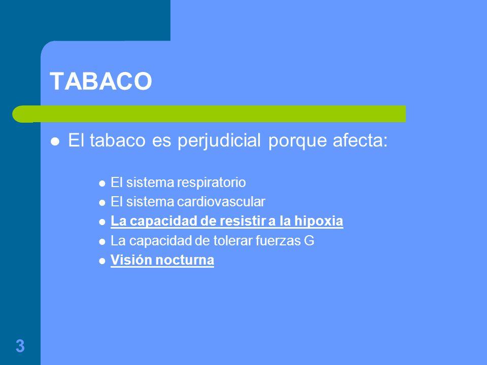 3 TABACO El tabaco es perjudicial porque afecta: El sistema respiratorio El sistema cardiovascular La capacidad de resistir a la hipoxia La capacidad de tolerar fuerzas G Visión nocturna