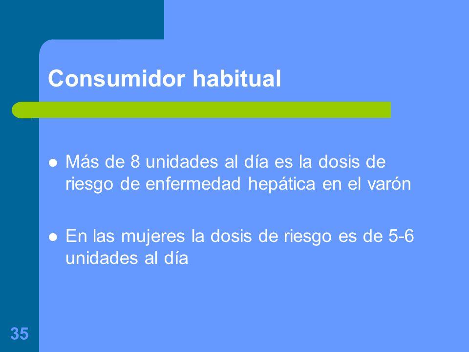 35 Consumidor habitual Más de 8 unidades al día es la dosis de riesgo de enfermedad hepática en el varón En las mujeres la dosis de riesgo es de 5-6 unidades al día