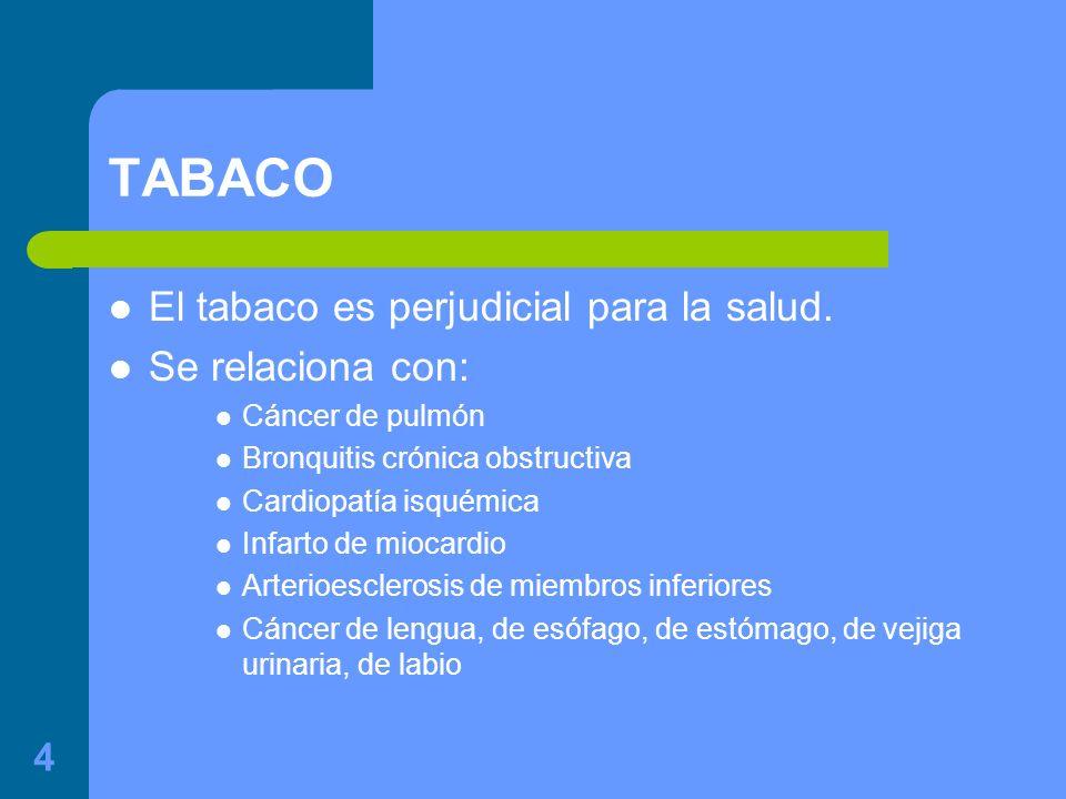 4 TABACO El tabaco es perjudicial para la salud.