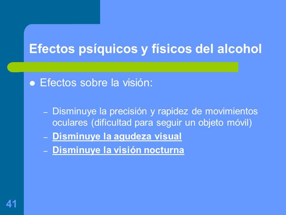 41 Efectos psíquicos y físicos del alcohol Efectos sobre la visión: – Disminuye la precisión y rapidez de movimientos oculares (dificultad para seguir un objeto móvil) – Disminuye la agudeza visual – Disminuye la visión nocturna