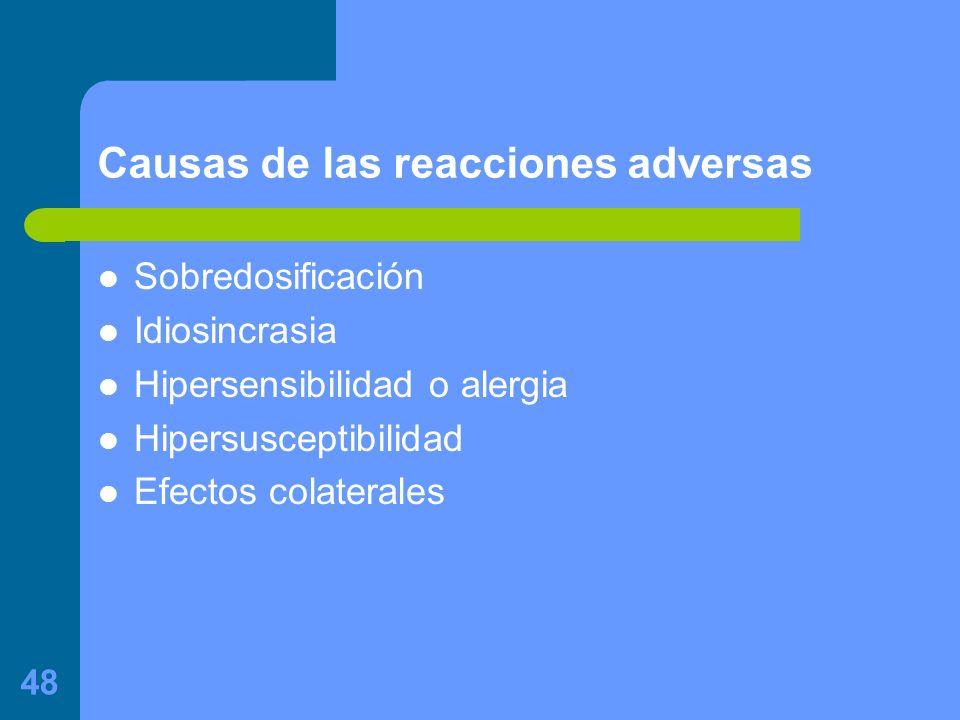 48 Causas de las reacciones adversas Sobredosificación Idiosincrasia Hipersensibilidad o alergia Hipersusceptibilidad Efectos colaterales