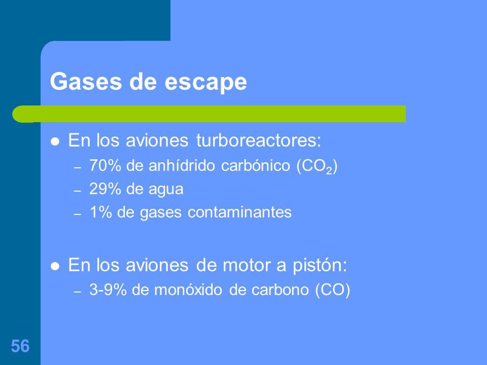 56 Gases de escape En los aviones turboreactores: – 70% de anhídrido carbónico (CO 2 ) – 29% de agua – 1% de gases contaminantes En los aviones de motor a pistón: – 3-9% de monóxido de carbono (CO)