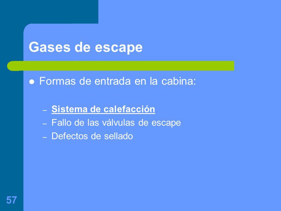 57 Gases de escape Formas de entrada en la cabina: – Sistema de calefacción – Fallo de las válvulas de escape – Defectos de sellado