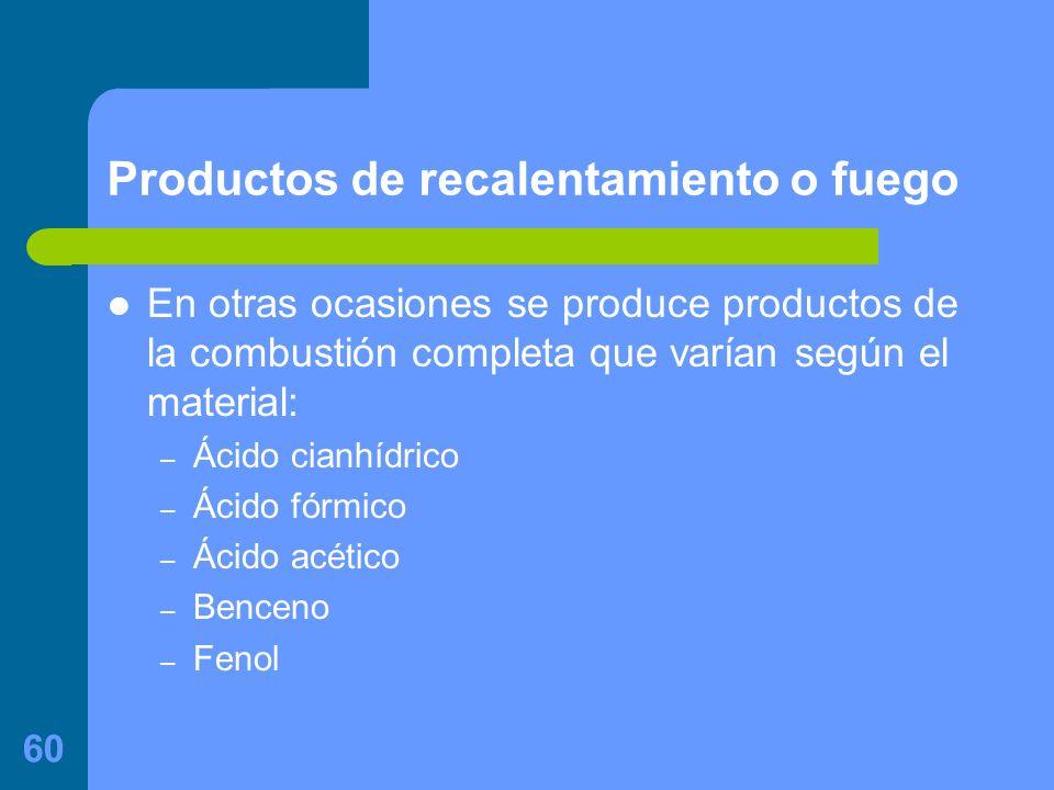 60 Productos de recalentamiento o fuego En otras ocasiones se produce productos de la combustión completa que varían según el material: – Ácido cianhídrico – Ácido fórmico – Ácido acético – Benceno – Fenol