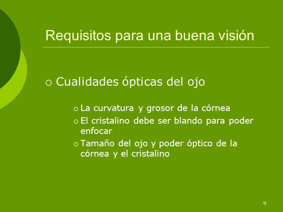 10 Requisitos para una buena visión Alineamiento de los ejes de la visión Ambos ojos deben converger en un objeto La divergencia conlleva: La visión doble Movimientos descoordinados de los ojos