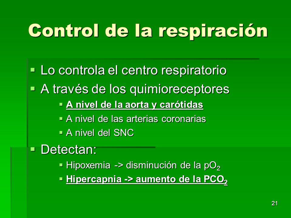 21 Control de la respiración Lo controla el centro respiratorio Lo controla el centro respiratorio A través de los quimioreceptores A través de los qu
