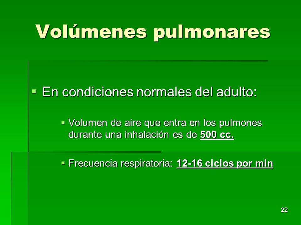 22 Volúmenes pulmonares En condiciones normales del adulto: En condiciones normales del adulto: Volumen de aire que entra en los pulmones durante una