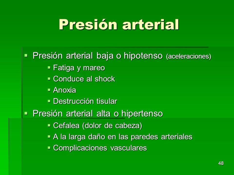 48 Presión arterial Presión arterial baja o hipotenso (aceleraciones) Presión arterial baja o hipotenso (aceleraciones) Fatiga y mareo Fatiga y mareo