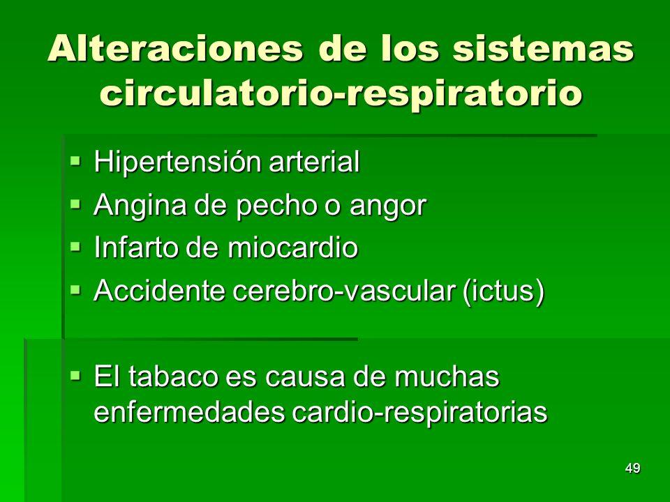 49 Alteraciones de los sistemas circulatorio-respiratorio Hipertensión arterial Hipertensión arterial Angina de pecho o angor Angina de pecho o angor