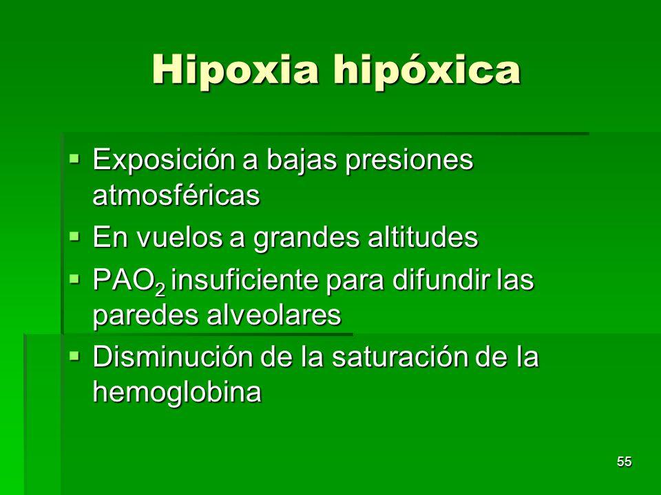 55 Hipoxia hipóxica Exposición a bajas presiones atmosféricas Exposición a bajas presiones atmosféricas En vuelos a grandes altitudes En vuelos a gran