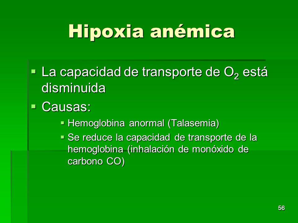 56 Hipoxia anémica La capacidad de transporte de O 2 está disminuida La capacidad de transporte de O 2 está disminuida Causas: Causas: Hemoglobina ano