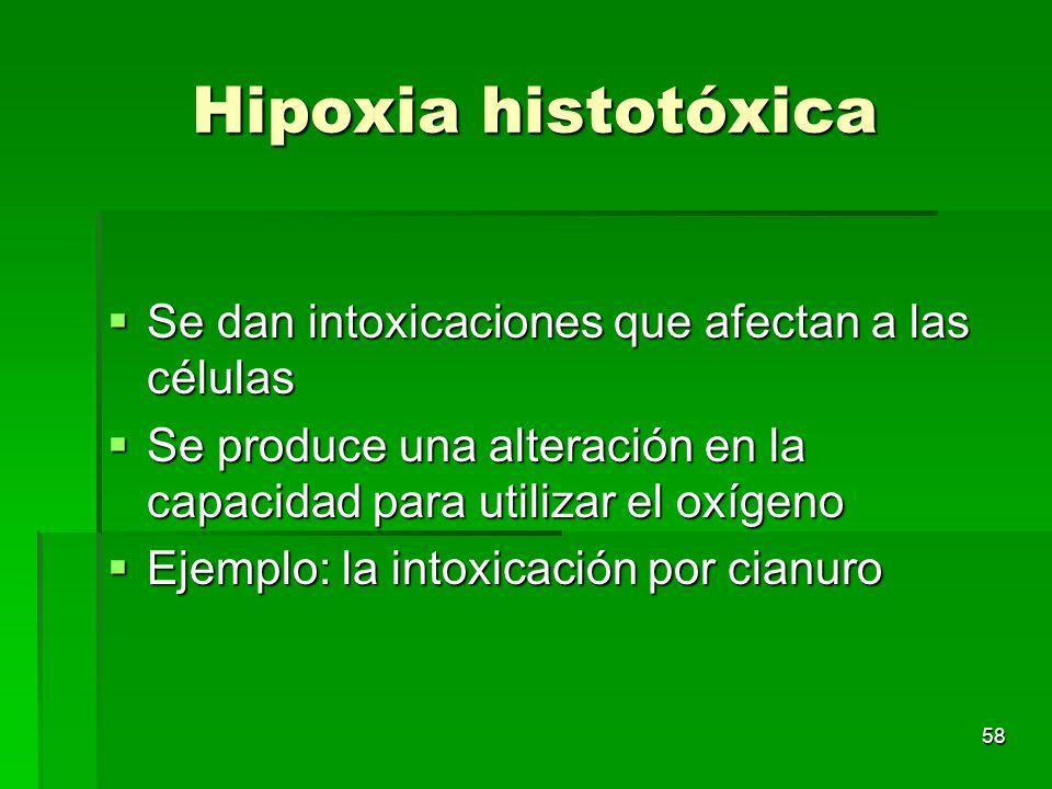 58 Hipoxia histotóxica Se dan intoxicaciones que afectan a las células Se dan intoxicaciones que afectan a las células Se produce una alteración en la