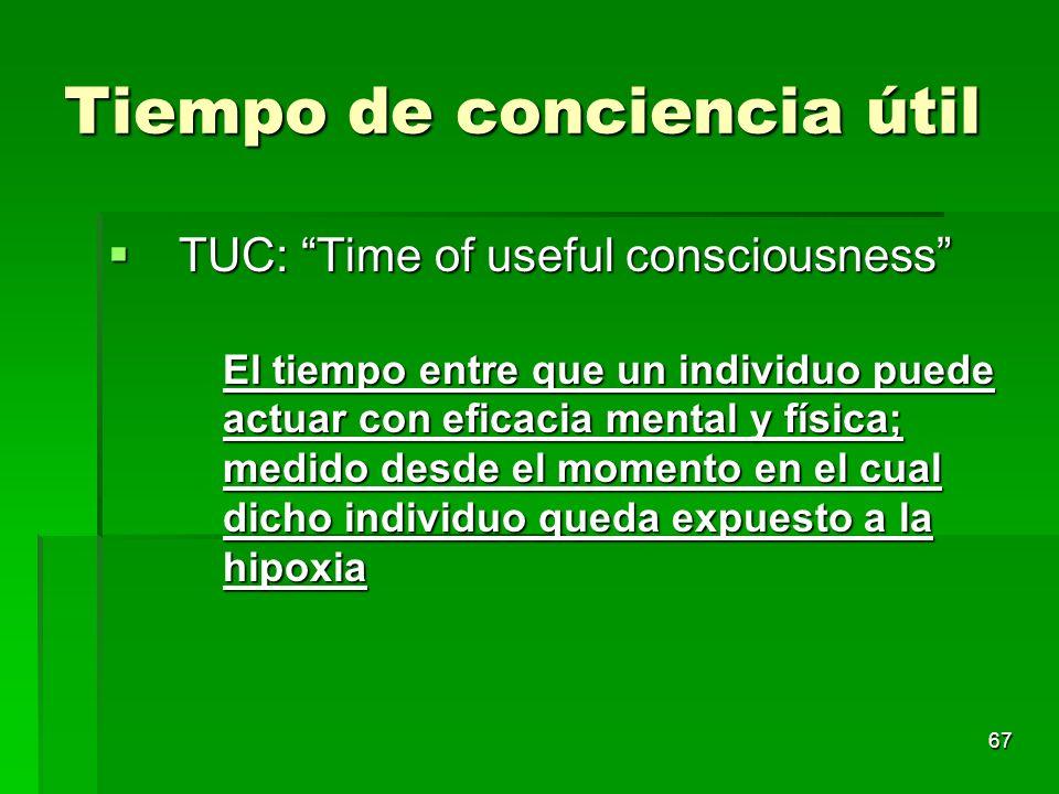 67 Tiempo de conciencia útil TUC: Time of useful consciousness TUC: Time of useful consciousness El tiempo entre que un individuo puede actuar con efi