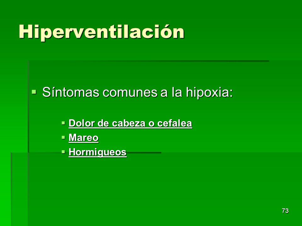 73 Hiperventilación Síntomas comunes a la hipoxia: Síntomas comunes a la hipoxia: Dolor de cabeza o cefalea Dolor de cabeza o cefalea Mareo Mareo Horm
