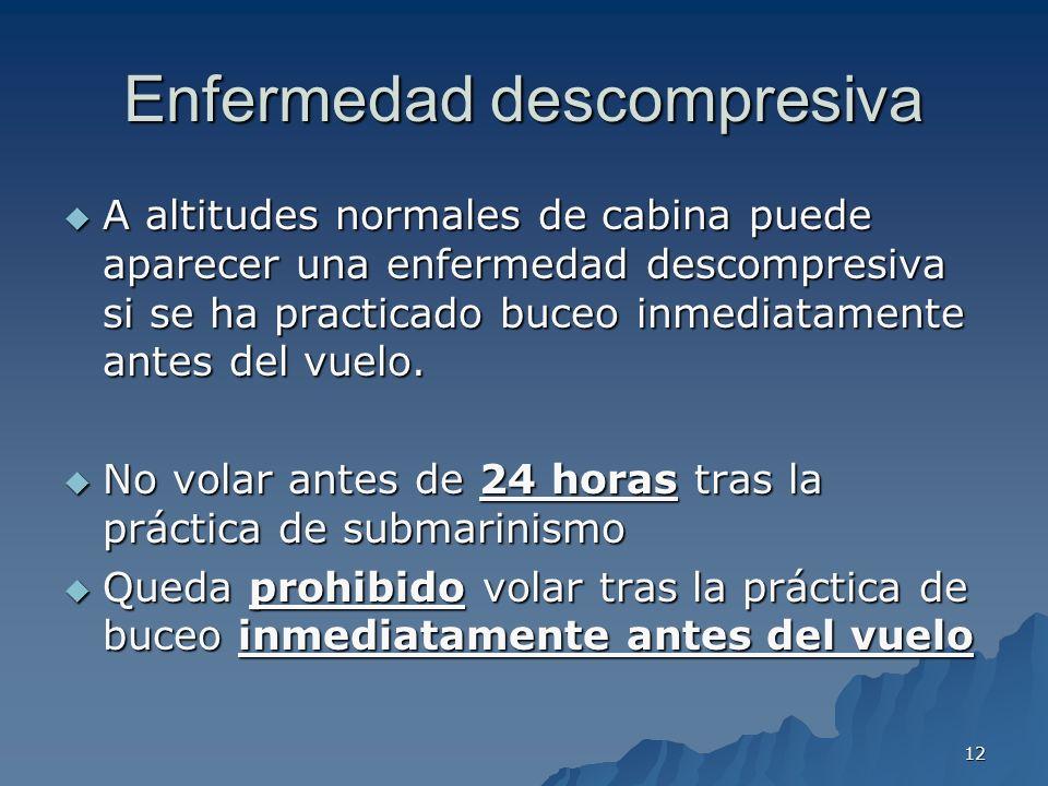 12 Enfermedad descompresiva A altitudes normales de cabina puede aparecer una enfermedad descompresiva si se ha practicado buceo inmediatamente antes