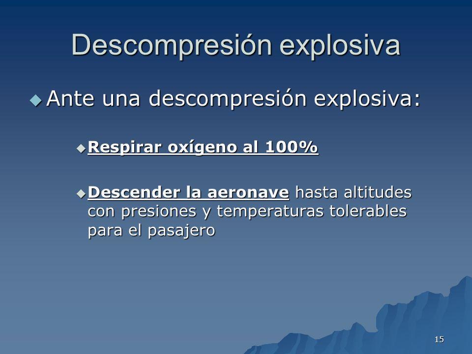 15 Descompresión explosiva Ante una descompresión explosiva: Ante una descompresión explosiva: Respirar oxígeno al 100% Respirar oxígeno al 100% Desce
