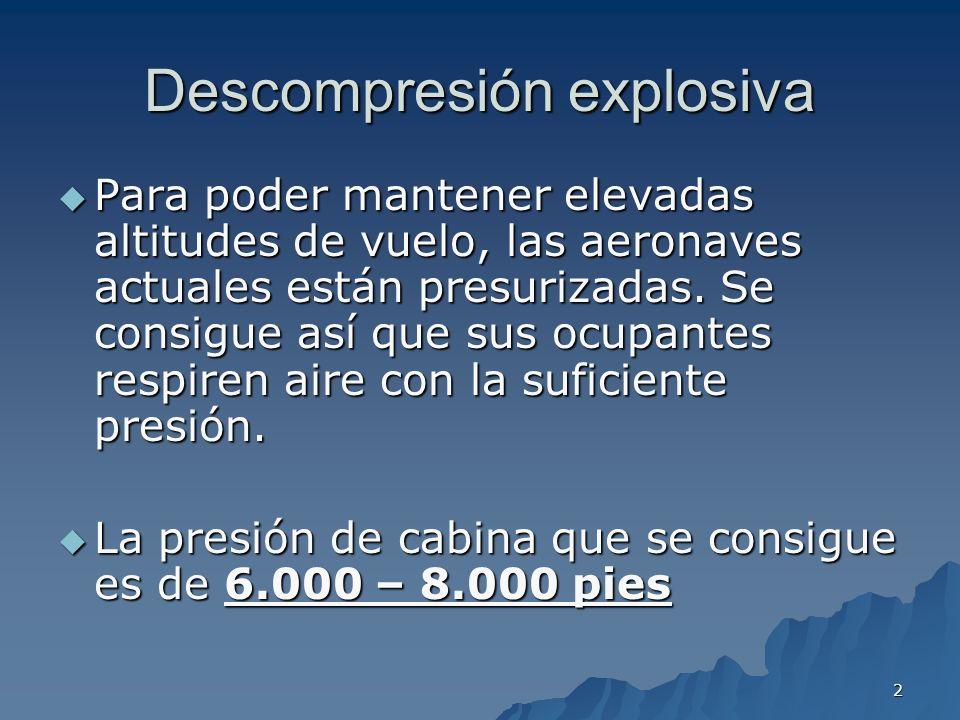 3 Descompresión explosiva Concepto: Concepto: La despresurización ocurre de forma muy brusca debido a que el fallo estructural es importante.