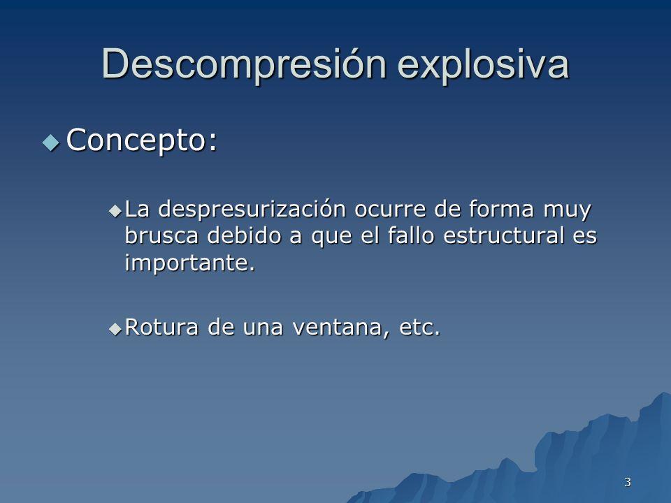 3 Descompresión explosiva Concepto: Concepto: La despresurización ocurre de forma muy brusca debido a que el fallo estructural es importante. La despr